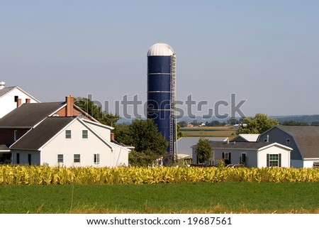 Typical Amish farm in Lancaster county in Pennsylvania USA without electricity.