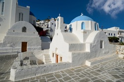 Typical ancient church in the Chora village of the Greek island of Ios in the Cyclades archipelago
