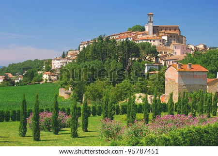 typical and picturesque Village in Umbria near Assisi,Italy - stock photo