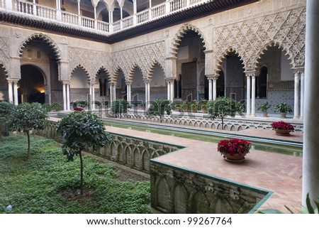 typical Andalusian courtyard, from the Arabic era in Spain