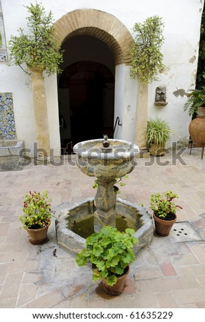 """Typical Andalusian patio with plants and a fountain inside the so-called """"Palacio de Viana"""" in Cordoba, Spain"""