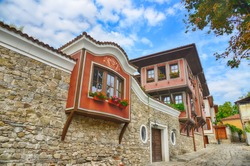 Typical architecture,historical medieval houses,Old city street view with colorful buildings in Plovdiv, Bulgaria. Ancient Plovdiv is UNESCO's World Heritage.HDR image