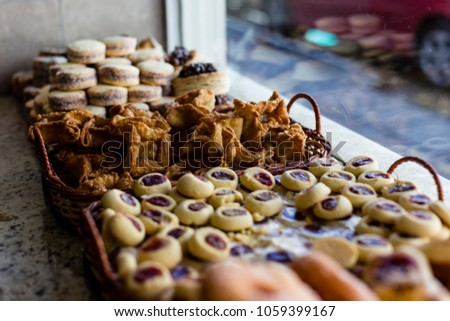 Typical argentinean snacks and treats on shop window in Ushuaia, #1059399167