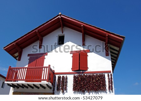 typical basque house and espolette red chilli