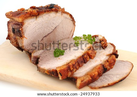 Typical Bavarian roast pork in a studio shot