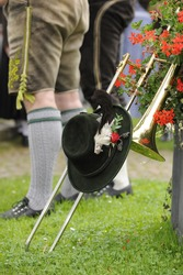 typical bavarian traditional costume with trumpet