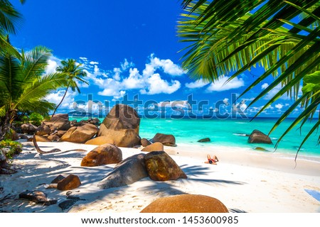 Typical beach in Seychelles with granite rocks Stock photo ©