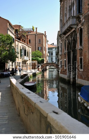 Typical beautiful scene of Venice city in Italy