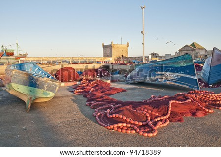 Typical blue boats at Seaport of Essaouira, Morocco