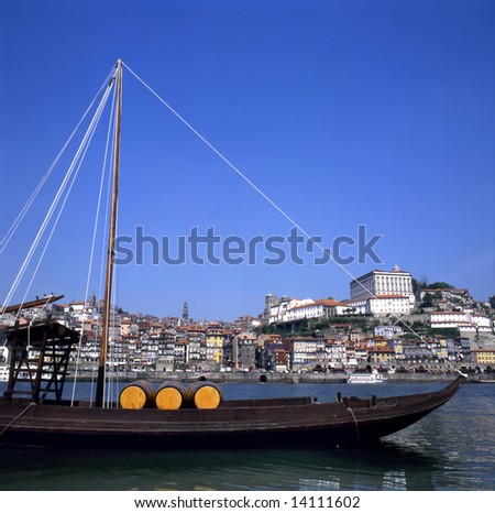 typical boat for transporting the port wine at Porto city in the north of Portugal