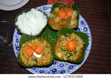 Typical Cambodian food : Amok fish an  chicken amok