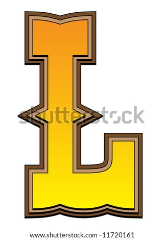 Typical carved wood western alphabet letter - stock photo