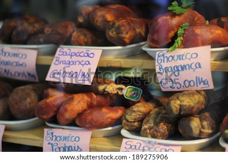 Typical chorizos sausages of Porto, Portugal