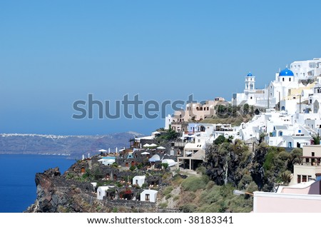 Typical city view in Santorini Island, Thira, Greece
