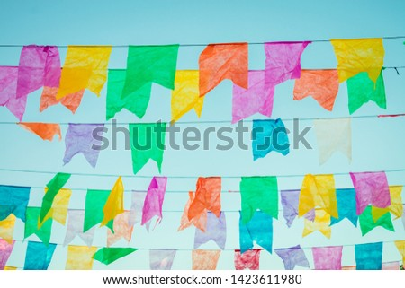 Typical colorful flags used for decoration at the June Festivals (aka festas de Sao Joao), popular festivities in Northeastern Brazil (Oeiras, Brazil) #1423611980