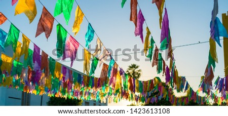 Typical colorful flags used for decoration at the June Festivals (aka festas de Sao Joao), popular festivities in Northeastern Brazil (Oeiras, Brazil) #1423613108