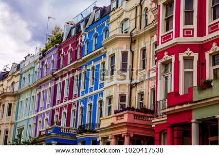 Typical colorful houses of Notting Hill, district near Portobello Road, London, UK. #1020417538