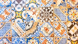 typical colorful sicilian floor and wall tiles in different patterns and design