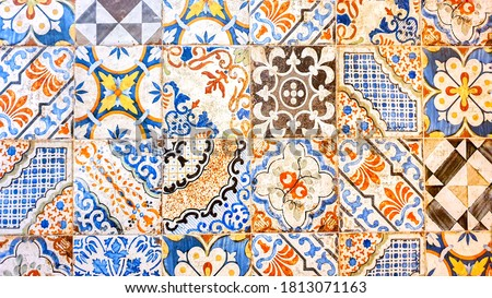 typical colorful sicilian floor and wall tiles in different patterns and design Foto stock ©