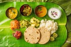 Typical curry set meal of meals south India