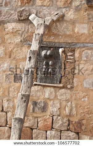 Typical Dogon ladder, Mali, Africa.