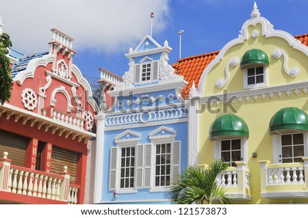 Typical dutch design architecture Center square in Oranjestad Aruba Caribbean windward islands lesser antillies west indies