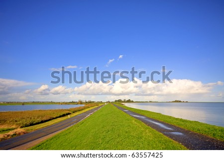 Typical dutch landscape: water, dyke and wideness