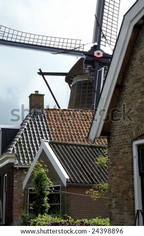 Typical, Dutch windmill in Sloten - Friesland, Netherlands