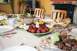 Typical Easter  village table in a Polish family