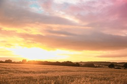 Typical english countryside field with sunset cloudy sky nature Landscape