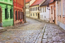 Typical European alley in the old city of Bratislava, Slovakia