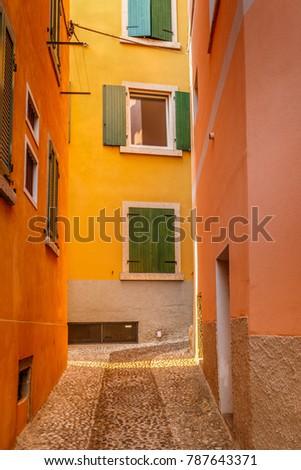 typical european small narrow...