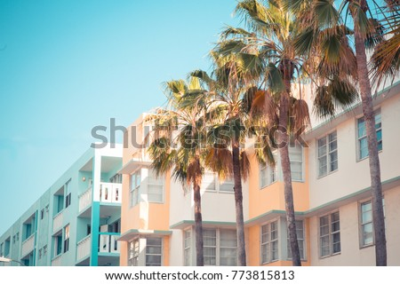 Typical example of Art Deco style architecture, South Beach Miami Florida #773815813