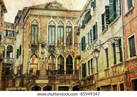 Typical example of unique Venetian architecture. Retro photo style.
