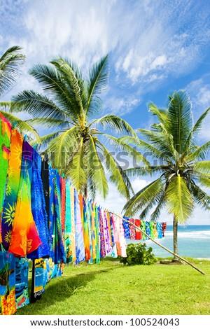 typical fabrics, Bathsheba, East coast of Barbados, Caribbean