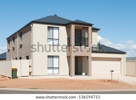 typical   facade of a modern and new australian house at noon