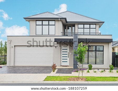 typical  facade of a modern suburban  house