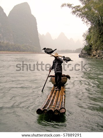 typical fisherman and his cormorants
