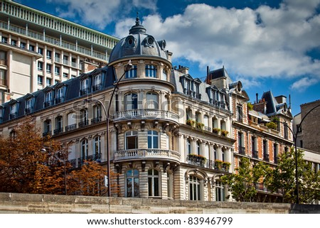 Typical french architecture facades, Paris, France