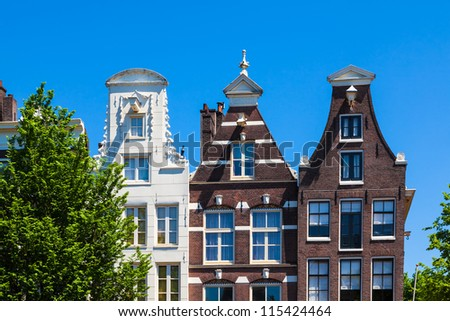 Typical gable houses in downtown Amsterdam, the Netherlands
