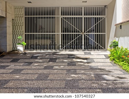 Typical garage entrance in Rio De Janeiro - stock photo