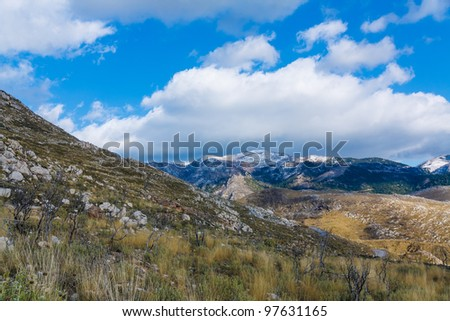 Typical Greek scenery in countryside on the mountains in winter