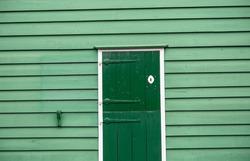 Typical green door in Zaandam Netherlands