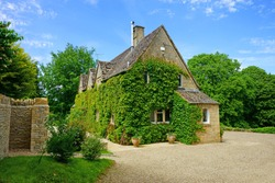 Typical green Ivy covered Cotswold cottage in the Cotswolds, England, UK