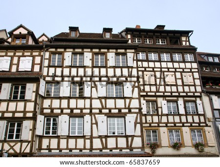 Typical half timbered houses in Colmar, France