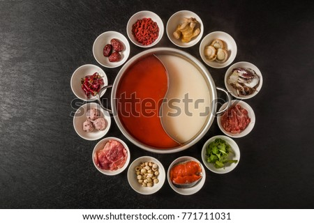 typical hot pot herbal cuisine of Chinese cuisine