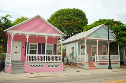typical houses in the conch style architecture in Key West, Florida
