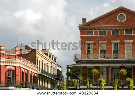 Typical houses with exquisite ironwork in French Quarter, New Orleans