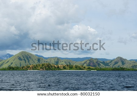 Typical indonesian island landscape. Islands on the Flores sea - stock photo