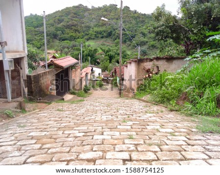 Typical Inland street small town Minas Gerais tranquility peace tranquility and quiet